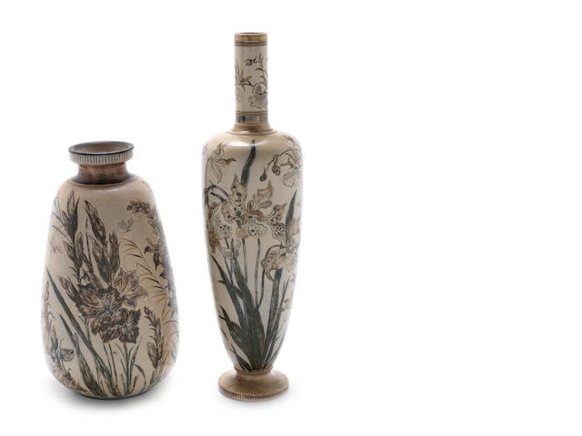 Martin Brothers Two Floral Decorated Vases, 1889 and 1890