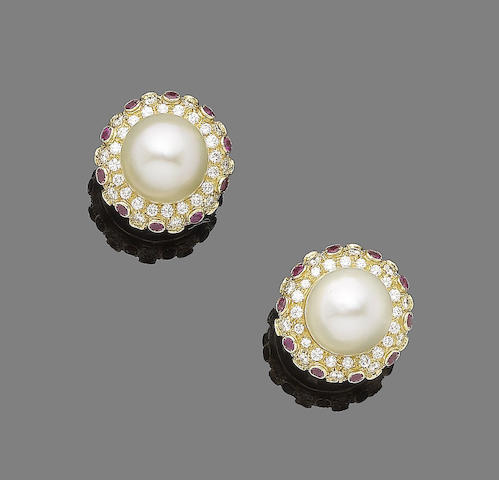 A pair of cultured pearl, ruby and diamond earclips