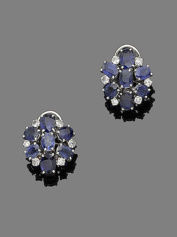 A pair of sapphire and diamond earclips, by Grima,