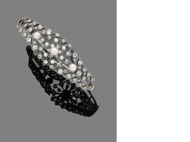 A pearl and diamond hinged bangle,