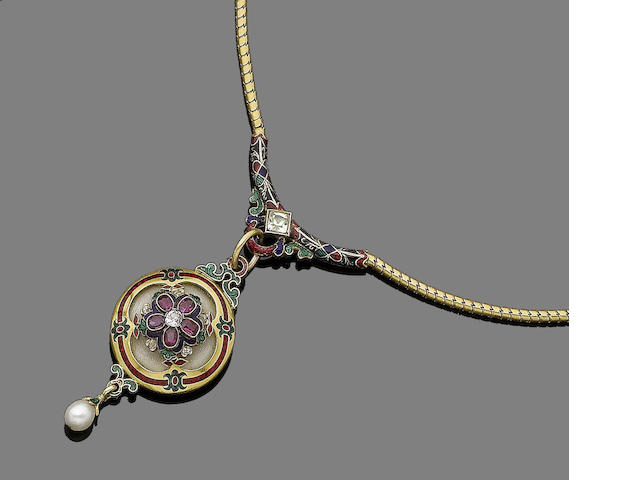 A gold, enamel and gem-set pendant necklace,