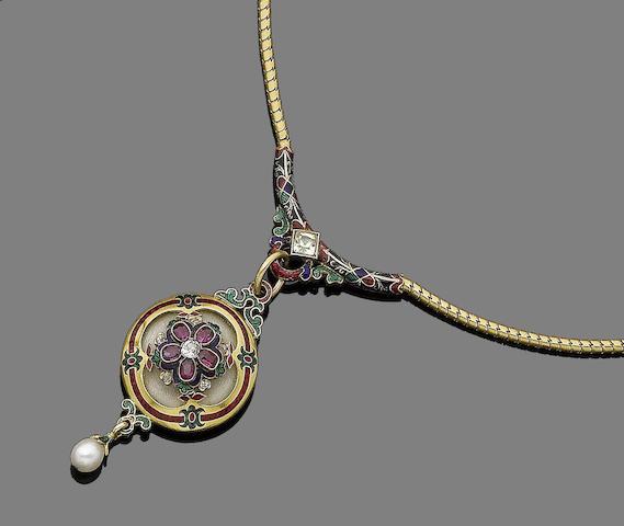 A gold, enamel and gem-set pendant necklace,