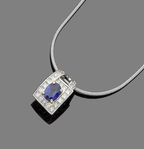 A sapphire and diamond pendant necklace