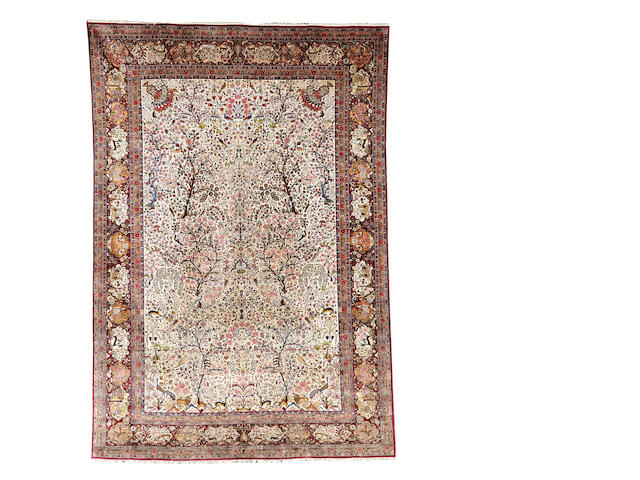 A silk Kashan carpet, Central Persia, 375cm x 263cm