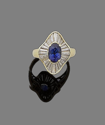 A sapphire and diamond ballerina ring
