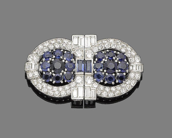 A sapphire, synthetic sapphire and diamond double clip brooch,