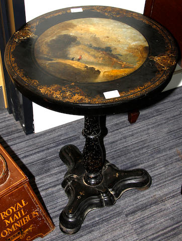 A Victorian papier mache occasional table,