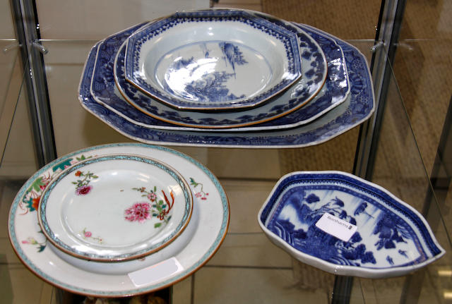 A group of seven chinese blue and white and famille rose plates