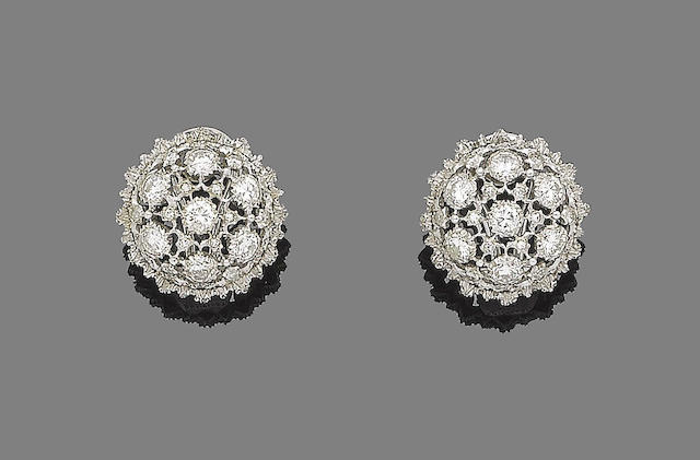 A pair of diamond earclips, by Buccellati