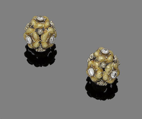 A pair of diamond-set earclips, by Buccellati