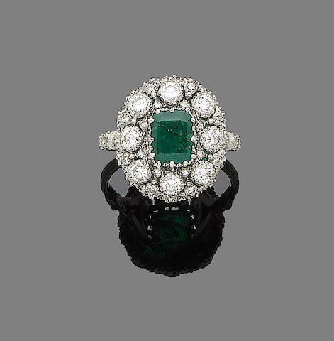 An emerald and diamond dress ring,  by Buccellati