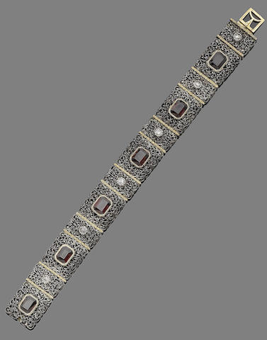 A garnet and diamond bracelet