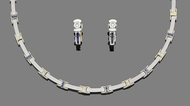 A sapphire and diamond necklace, bracelet and earrings (3) (partially illustrated)