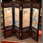 A Chinese four leaf hardwood screen,