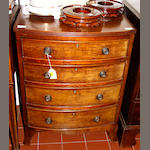 A late Georgian style small mahogany bowfront chest,