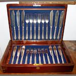 An Edwardian cased set of twelve electro-plated fish knives and forks, together with other items to include: