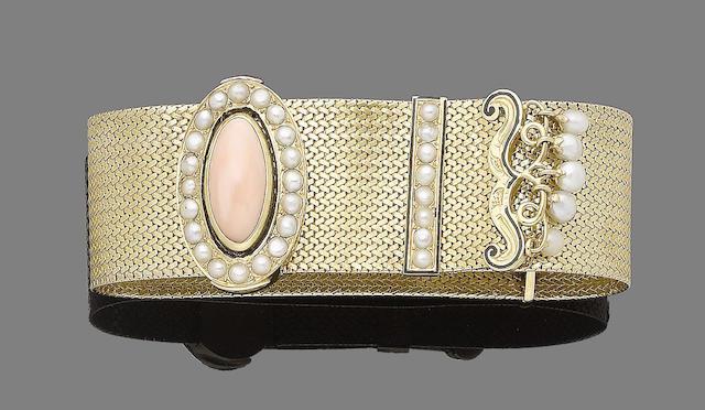 A coral, pearl and enamel jarretière bracelet