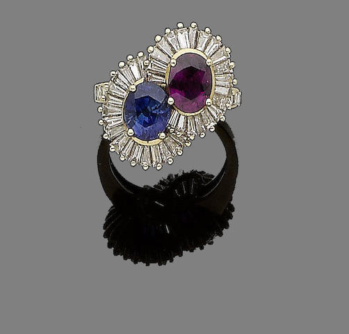 A sapphire, ruby and diamond ring