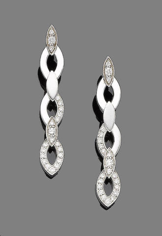 A pair of diamond pendent earrings, by Cartier