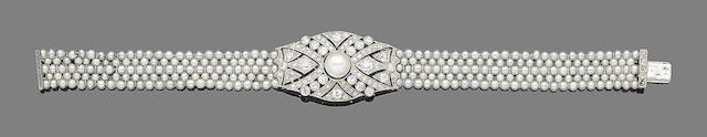 A pearl, seed pearl and diamond bracelet,