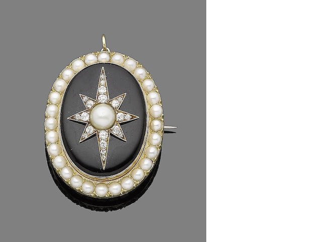 A pearl, onyx and diamond brooch/pendant