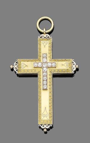 A 19th century gold and diamond cross pendant