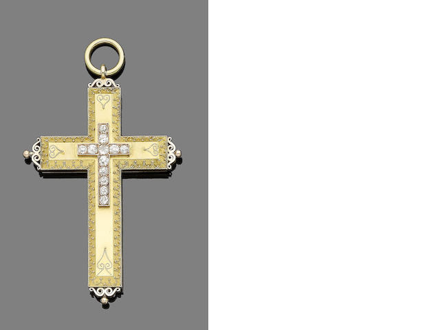 A 19th century gold and diamond cross pendant