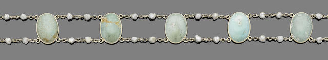 A turquoise and seed pearl choker