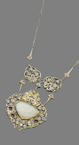 An early 20th century Arts and Crafts gem-set pendant necklace, by A.H. Anderson for the Elverhoj Colony