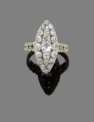 A late 19th century diamond dress ring