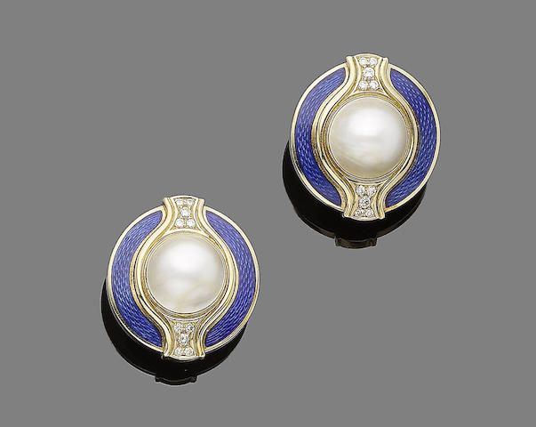 A pair of gold, enamel, mabé cultured pearl and diamond earclips, by De Vroomen,