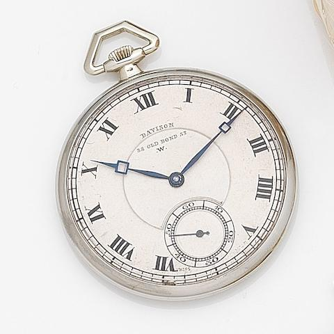 Davison. An 18ct white gold keyless wind open face pocket watch Case No.12041, Movement No.10427, London Hallmark for 1904