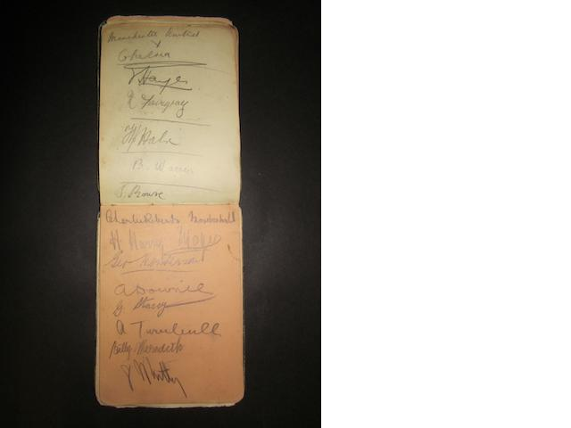 1908/09 autograph book of cricket and football signatures including Manchester United