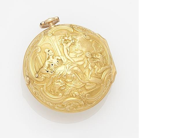 John Garth. A 22ct gold key wind repoussé pair case pocket watch Numbered 365, Circa 1760