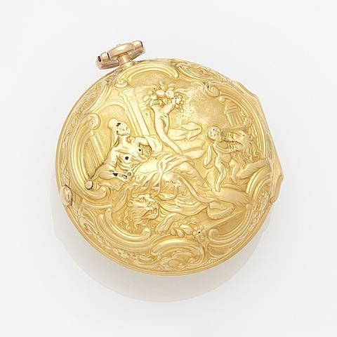 John Garth. A 22ct gold key wind repoussé pair case pocket watch Numbered 365, Circa 1760