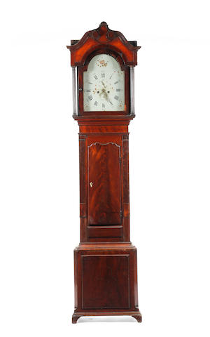 A late 18th century mahogany 8 day painted dial longcase clock George Monks, Prescot. b. 1750-d.1815