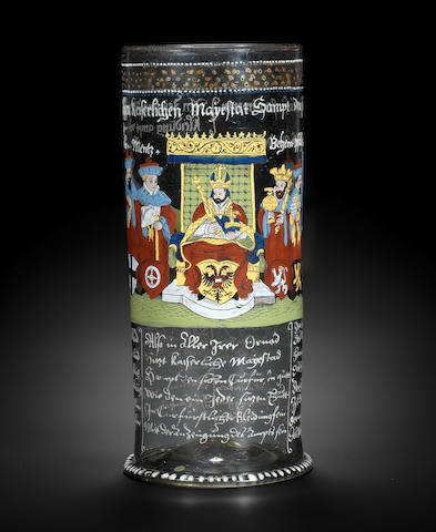 A Bohemian enamelled and gilt Kurfürstenhumpen, circa 1600