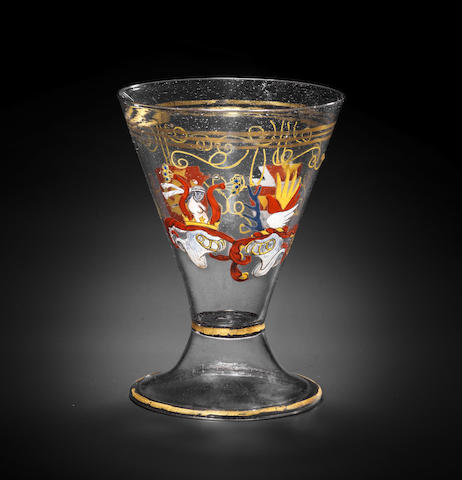 A Venetian or South German enamelled and gilt armorial goblet, early 16th century