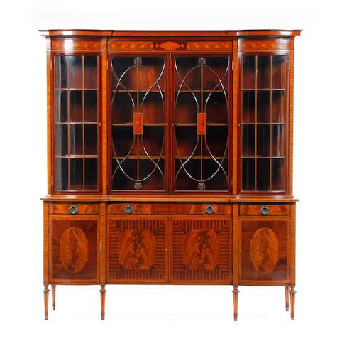 An Edwardian inlaid mahogany display cabinet
