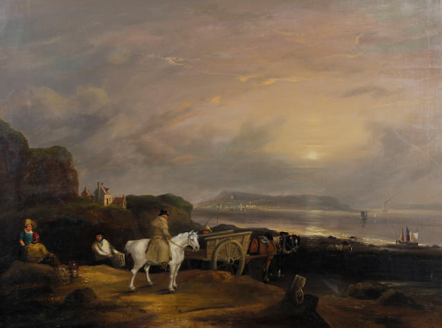 Attributed to Sir Augustus Wall Callcott RA (British, 1779-1844) 'Evening by the Coast'