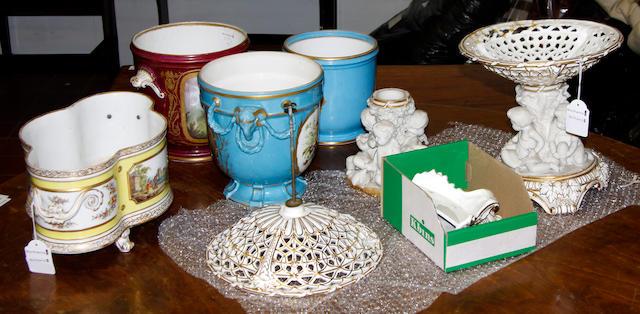 A Berlin porcelain quatrefoil jardinière