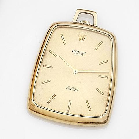 Rolex. An 18ct gold keyless wind open face pocket watch Cellini, Ref:3727, Case No.2101434, Circa 1968