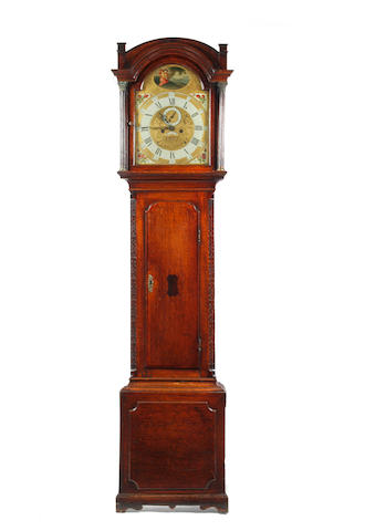 A George III oak longcase clock, 8 day movement, not working, with pendulum and two weights
