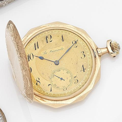 La Maisonette. A 14ct gold keyless wind full hunter pocket watch Case No.144607, Circa 1920
