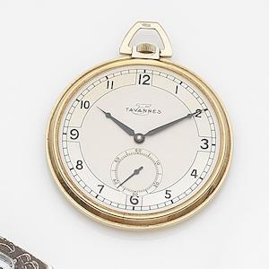 Tavannes. A 9ct gold keyless wind open face pocket watch Case No.9803/8, Movement No.16986, Glasgow Hallmark for 1936
