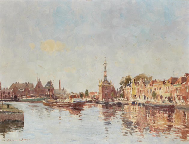 Edward Seago R.W.S. (British, 1910-1974) The bend in the canal, Alkmaar