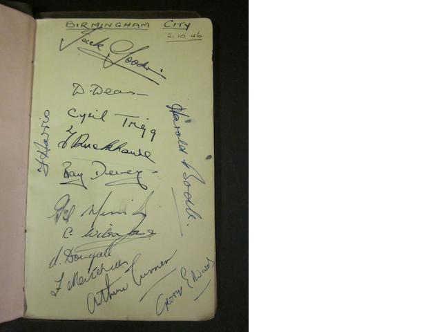 1946/47 Birmingham City and Aston Villa squad autographs