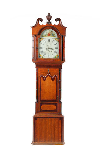A 19th century mahogany painted dial 8-day longcase clock Scales, Kendal.