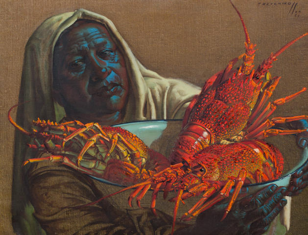 Vladimir Griegorovich Tretchikoff (South African, 1913-2006) Lady with crayfish