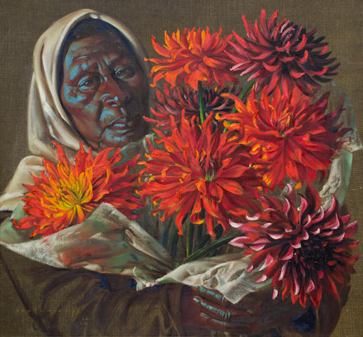 Vladimir Griegorovich Tretchikoff (South African, 1913-2006) Lady with dahlias
